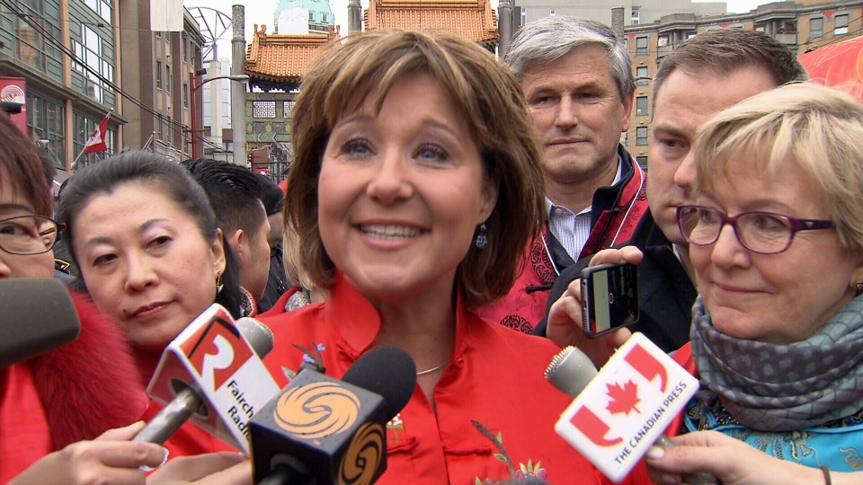 Premier Christy Clark announced an exemption to the foreign homebuyer tax before Sunday's Lunar New Year Parade in Vancouver's Chinatown. Jan. 29, 2017. (CTV)