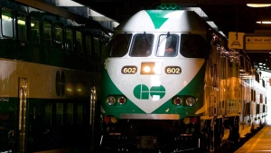 The first GO Transit MP40 locomotive arrives at the platform in Toronto on Jan. 15, 2008. (THE CANADIAN PRESS/Adrian Wyld)