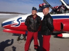 The Snowbirds were in Barrie, Ont. for an announcement about show to celebrate Canada's 150th birthday. (K.C. Colby/ CTV Barrie)