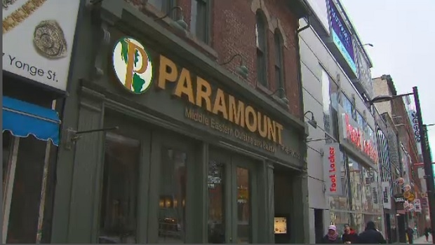 A Paramount Fine Foods restaurant located on Yonge Street, near Shuter Street, in downtown Toronto.