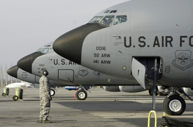 U.S. military aircraft line up at the Manas US military base in Bishkek airport Kyrgyzstan, on Thursday, Feb. 12, 2009. (AP / Igor Kovalenko)