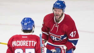 Montreal Canadiens' Max Pacioretty (67) celebrates with teammate Alexander Radulov after scoring against the Buffalo Sabres during second period NHL hockey action in Montreal, Tuesday, January 31, 2017. THE CANADIAN PRESS/Graham Hughes