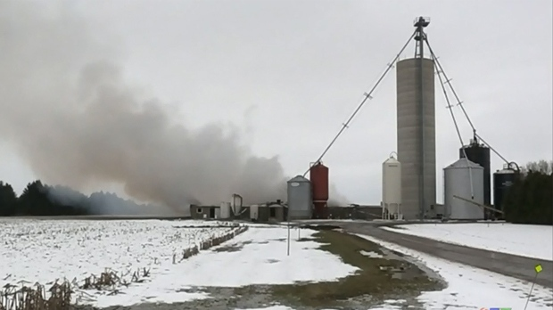 Barn destroyed by fire in Lambton County