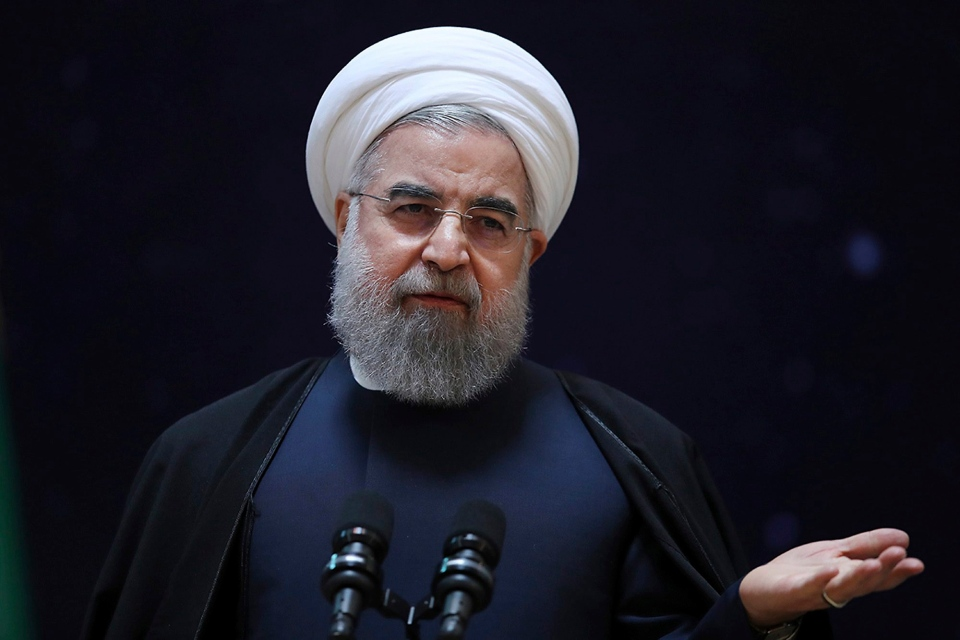 In this photo released by official website of the office of the Iranian Presidency, President Hassan Rouhani, speaks during a ceremony marking National Space Technology Day in Tehran, Iran, Wednesday, Feb. 1, 2017. (Iranian Presidency Office via AP)