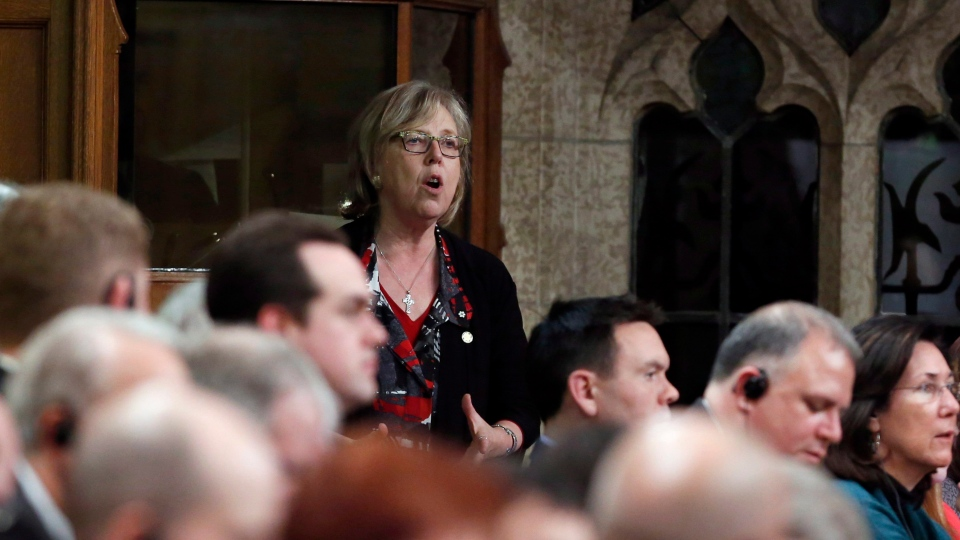 Green Party Leader Elizabeth May, stands during Question Period in the House of Commons in Ottawa, Wednesday, February 1, 2017. (Fred Chartrand / THE CANADIAN PRESS)