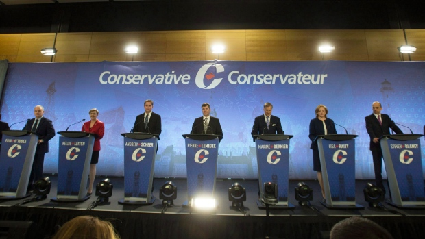 Leadership candidates prepare for the Conservative Party French language leadership debate, in in Quebec City, on Tuesday, January 17, 2017. (THE CANADIAN PRESS/Jacques Boissinot)