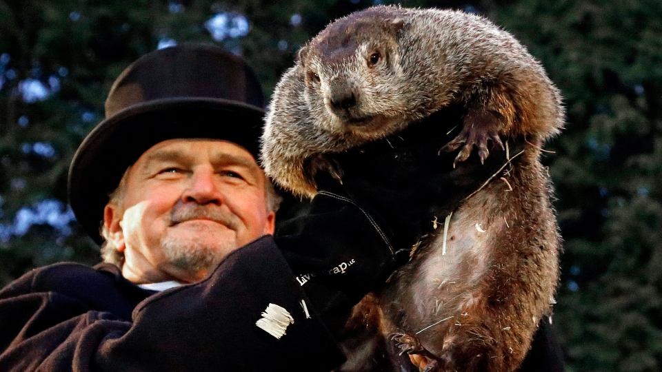 Groundhog Club handler John Griffiths holds Punxsutawney Phil, the weather prognosticating groundhog, during the 131st celebration of Groundhog Day on Gobbler's Knob in Punxsutawney, Pa. Thursday, Feb. 2, 2017. (AP / Gene J. Puskar)