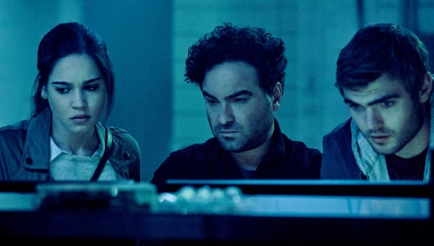 Johnny Galecki, Alex Roe, and Matilda Lutz in a scene from 'Rings.' (Paramount Pictures)