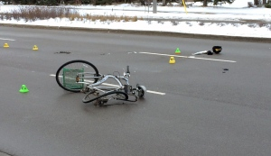 A bicycle lies on the ground after its rider was struck and killed by a car on King Street North in Waterloo. (Jeff Pagett / CTV Kitchener)