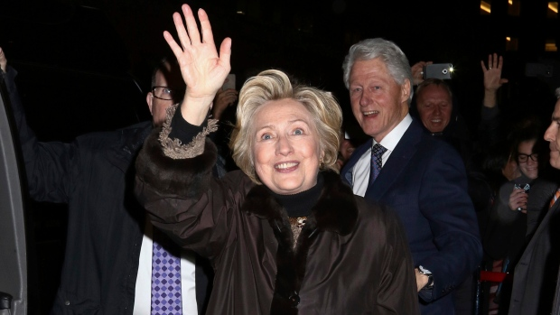 Former Secretary of State Hillary Clinton and former President Bill Clinton attend the Broadway a cappella musical 'In Transit,' at Circle in the Square Theatre, on Wednesday, Feb.1, 2017, in New York. (Photo by Greg Allen / Invision/AP)