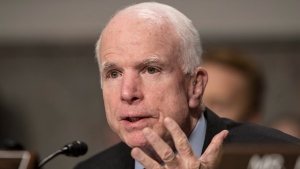 In this Jan. 12, 2017 file photo, Senate Armed Services Committee Chairman Sen. John McCain, R-Ariz. speaks on Capitol Hill in Washington.  (AP Photo / J. Scott Applewhite, File)