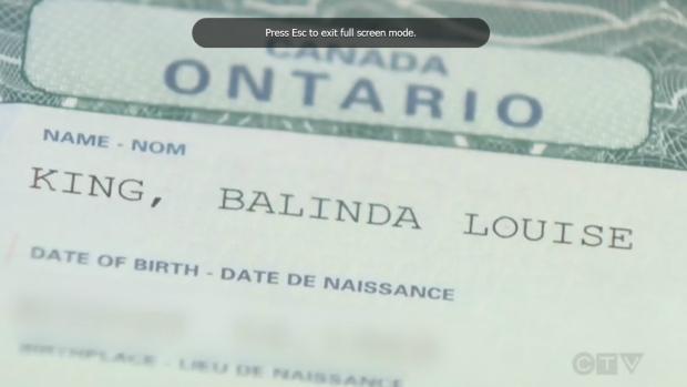 Belinda Barber's misspelled birth certificate is seen in this undated image. (CTV News)