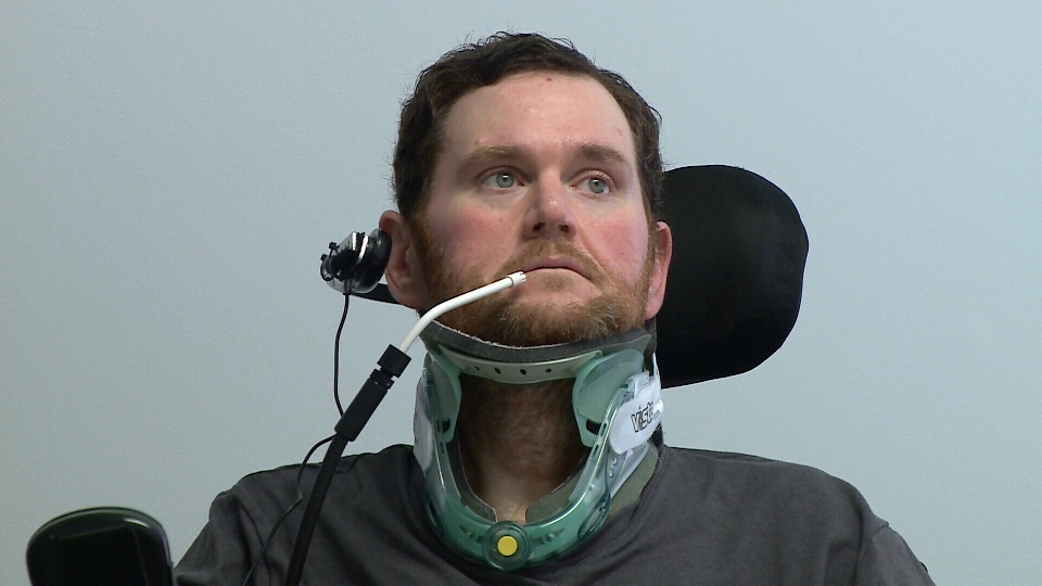 Troy Kraus at Ottawa Hospital Rehab Centre in February 2017. He fell on ice in January 2017 and broke his neck in four places.