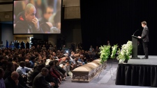 Prime Minister Justin Trudeau speaks at funeral