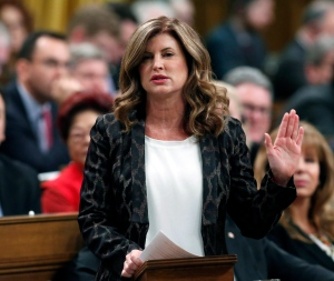 Interim Conservative Leader, Rona Ambrose stands during Question Period in the House of Commons in Ottawa, Wednesday, February 1, 2017. (Fred Chartrand / THE CANADIAN PRESS)