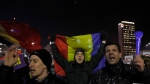 Protesters shout slogans during a protest in Bucharest, Romania, Friday, Feb. 3, 2017. Romania's political crisis is deepening over a government decree that may benefit rich and powerful people convicted of corruption. (AP Photo / Vadim Ghirda)