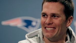 New England Patriots quarterback Tom Brady talks to reporters during a media availability for for the NFL Super Bowl 51 football game Thursday, Feb. 2, 2017, in Houston. (AP Photo/Charlie Riedel)