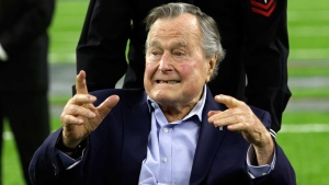 Former President George H.W. Bush before the NFL Super Bowl 51 on Feb. 5, 2017. (Eric Gay / AP)