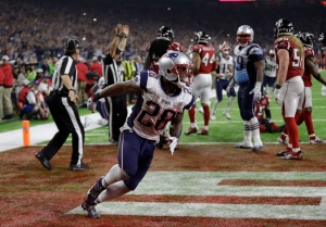 New England Patriots' James White celebrates after scoring the winning touchdown during overtime of the NFL Super Bowl 51 football game against the Atlanta Falcons, Sunday, Feb. 5, 2017, in Houston. (AP/Elise Amendola)