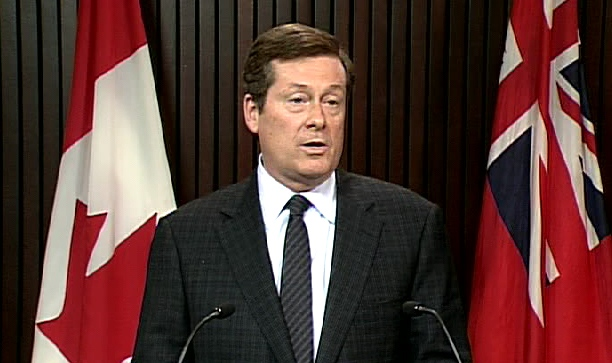 John Tory announces he is resigning as Ontario PC leader during a press conference at Queen's Park in Toronto, Friday, March 6, 2009.
