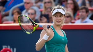 Eugenie Bouchard of Canada reacts as she faces Dominika Cibulkova of Slovakia during second round of play at the Rogers Cup tennis tournament July 27, 2016 in Montreal. (Paul Chiasson/The Canadian Press)