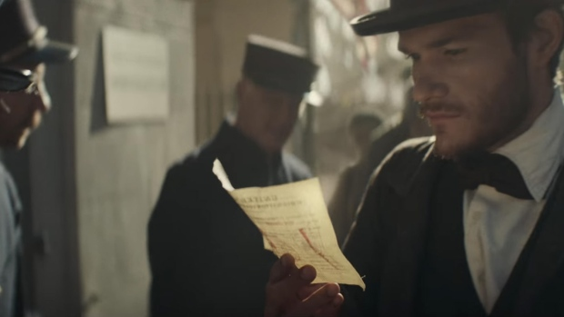 An actor is shown portraying Adolphus Busch on the day he immigrated to the United States, in this still image from a Budweiser ad released Jan. 31, 2017. (Budweiser / YouTube)