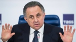 Vitaly Mutko at a news conference in Moscow, Russia, on Dec. 25, 2015. (Pavel Golovkin / AP)