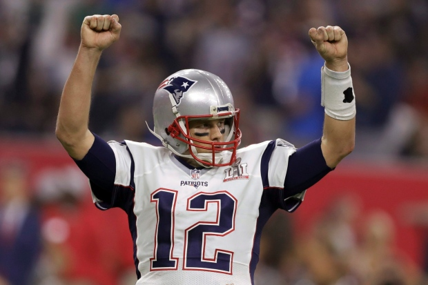 New England Patriots' Tom Brady reacts after a two-point conversion, during the second half of the NFL Super Bowl 51 football game against the Atlanta Falcons, Sunday, Feb. 5, 2017, in Houston. (AP Photo/Darron Cummings)
