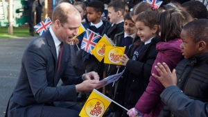 Prince William at the Mitchell Brook Primary School, north London, on Feb. 6, 2017. (Ian Vogler / Pool via AP)