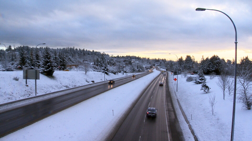 The Trans-Canada Highway as seen from the Helmcken Overpass. Tues, Feb. 7, 2017. (CTV Vancouver Island)