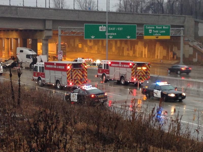 OPP investigate a fatal crash on Highway 401 near Cabana Road on Tuesday, Feb. 7, 2017. (CTV Windsor / Melissa Nakhavoly)