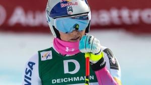 Lindsey Vonn during the women's downhill training at the 2017 Alpine Skiing World Championships in St. Moritz, Switzerland, on Feb. 8, 2017. (Peter Schneider / Keystone via AP)