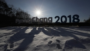 A sign for the 2018 Pyeongchang Olympic Winter Games is seen in Pyeongchang, South Korea, on Feb. 3, 2017. (Lee Jin-man / AP)