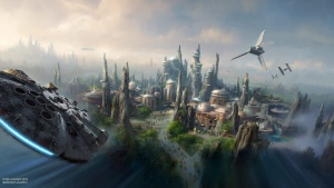 This image provided by Disney parks shows the Star Wars-themed lands will be coming to Disneyland park in Anaheim, Calif., and Disney's Hollywood Studios in Orlando, Fla., creating Disney's largest single-themed land expansions ever at 14-acres each, transporting guests to a never-before-seen planet, a remote trading port and one of the last stops before wild space where Star Wars characters and their stories come to life. (Disney Parks via AP)