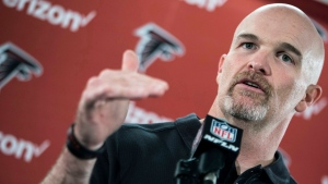 Atlanta Falcons head coach Dan Quinn speaks during a press conference at the team's practice facility, Tuesday, Feb. 7, 2017, in Flowery Branch, Ga. (Branden Camp /Atlanta Journal-Constitution via AP)