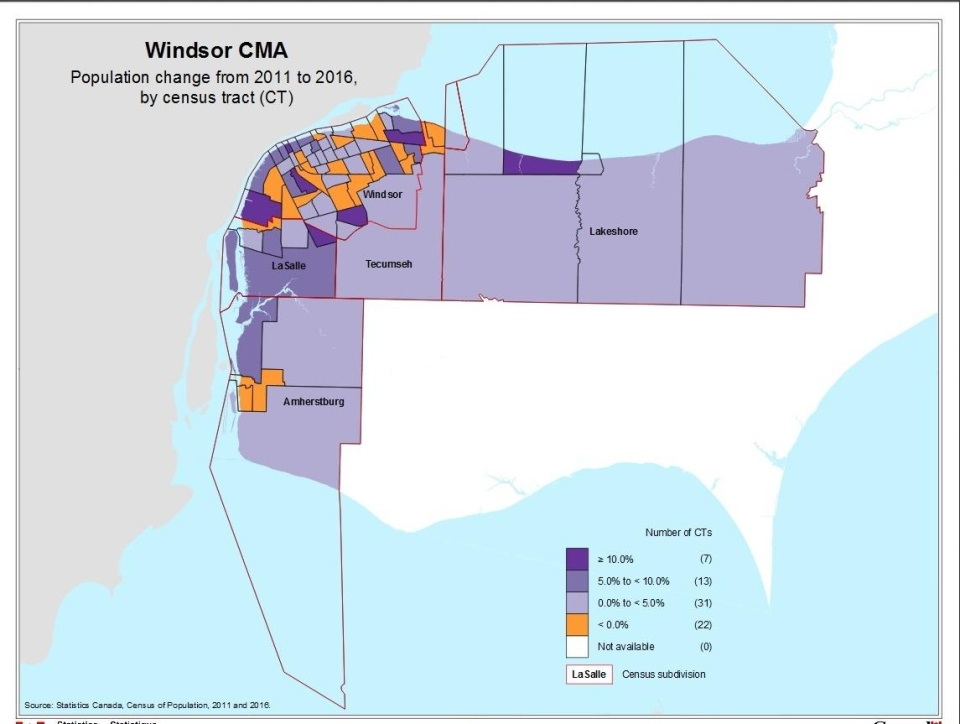 Windsor's population changes from 2011 to 2016. (Courtesy Statistics Canada)