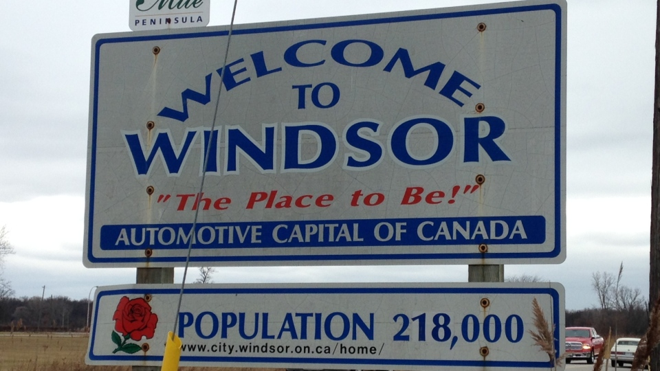 The Welcome to Windsor sign on Matchette Road in Windsor, Ont., on Feb. 8, 2017. (Chris Campbell / CTV Windsor)