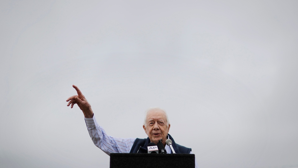 Former President Jimmy Carter speaks during a ribbon cutting ceremony for a solar panel project on farmland he owns in his hometown of Plains, Ga., Wednesday, Feb. 8, 2017. (AP Photo / David Goldman)