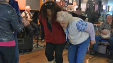 Peggy Orr and Ruth Ferguson on the dance floor during a jam session at the Bowness Legion