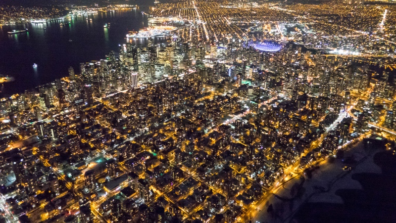 Vancouver's West End at night (Pete Cline/CTV).