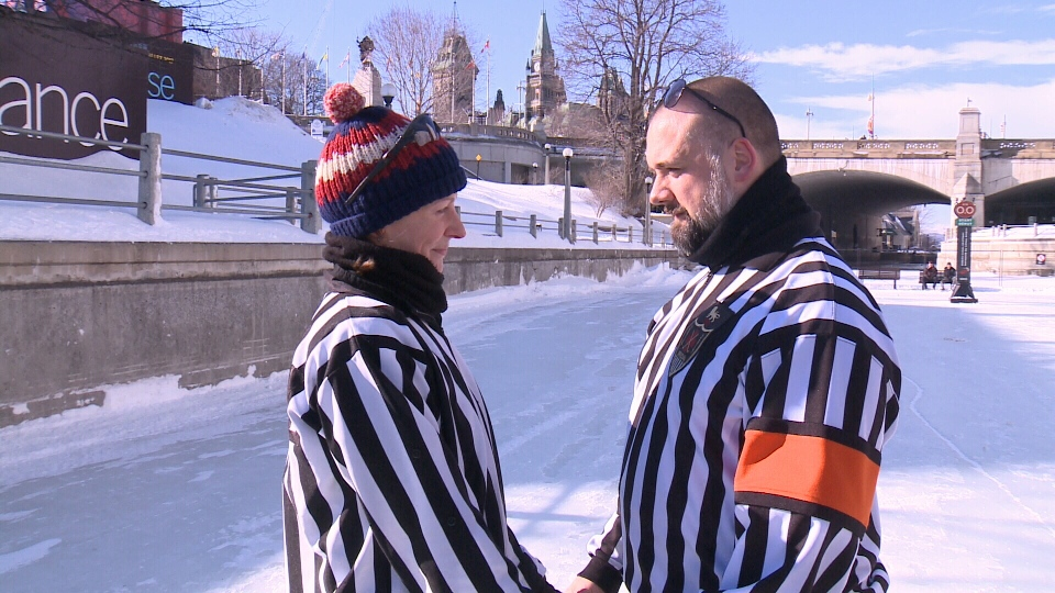 Alice Stanley (left) and Roy Hamilton, both hockey referees from the United Kingdom, tied the knot on the Rideau Canal Skateway on Wednesday. (Jamie Karam/CTV Ottawa, February 8, 2017)