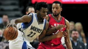 Toronto Raptors guard Norman Powell defends against Minnesota Timberwolves forward Andrew Wiggins during the fourth quarter of an NBA basketball game in Minneapolis on Wednesday, Feb. 8, 2017. (AP / Hannah Foslien)