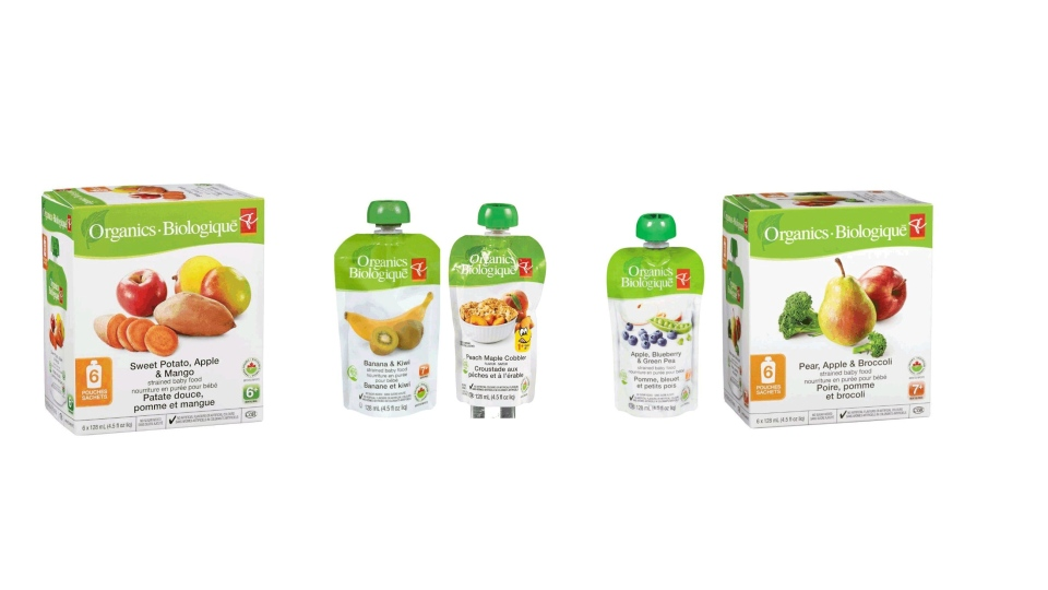 Loblaw Co. has expanded a recall of PC Organics brand baby food pouches due to the potential presence of dangerous bacteria. The products pictures here are included in the recall.