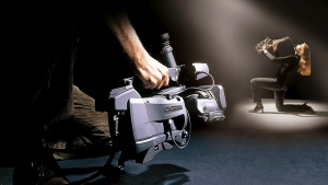 A Viper camera is used during a shoot with a saxophone player in a handout photo. (THE CANADIAN PRESS/HO - Grass Valley)