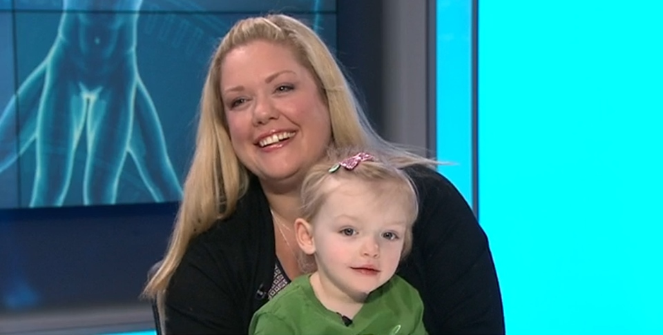 Madison Ambos, 3, and her mother, Katherine appear on CTV News Channel on Thursday, Feb. 9, 2017.