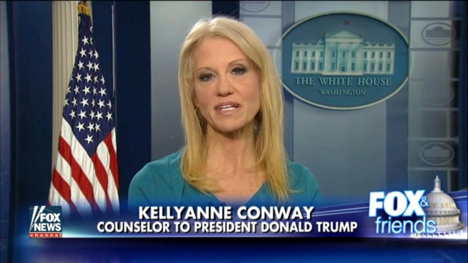 This frame grab from video provided by Fox News shows White House adviser Kellyanne during her interview with Fox News Fox and Friends, Thursday, Feb. 9, 2017. (Fox News via AP)
