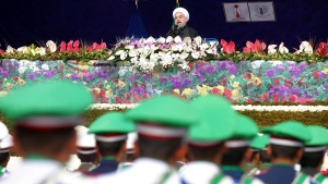 Iranian President Hassan Rouhani delivers a speech in Tehran, Iran, on Feb. 10, 2017. (Ebrahim Noroozi / AP)