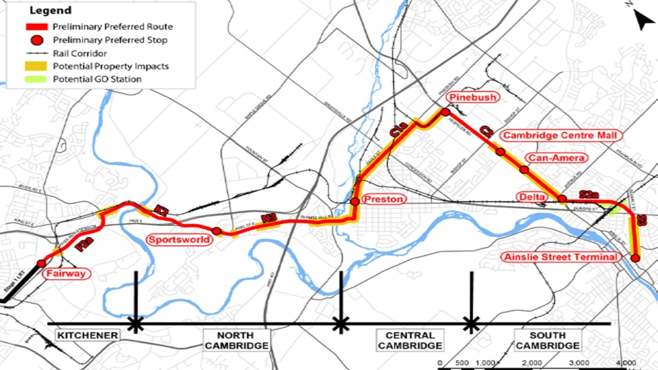 This map from the Region of Waterloo shows the preferred route for the extension of the Ion LRT system into Cambridge. (Click to enlarge)