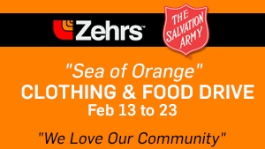 Sea of Orange clothing and food drive