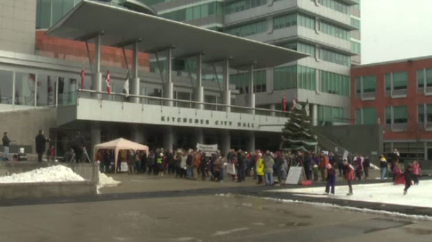 People across the country gathered in protest, including locally at Kitchener City Hall.
